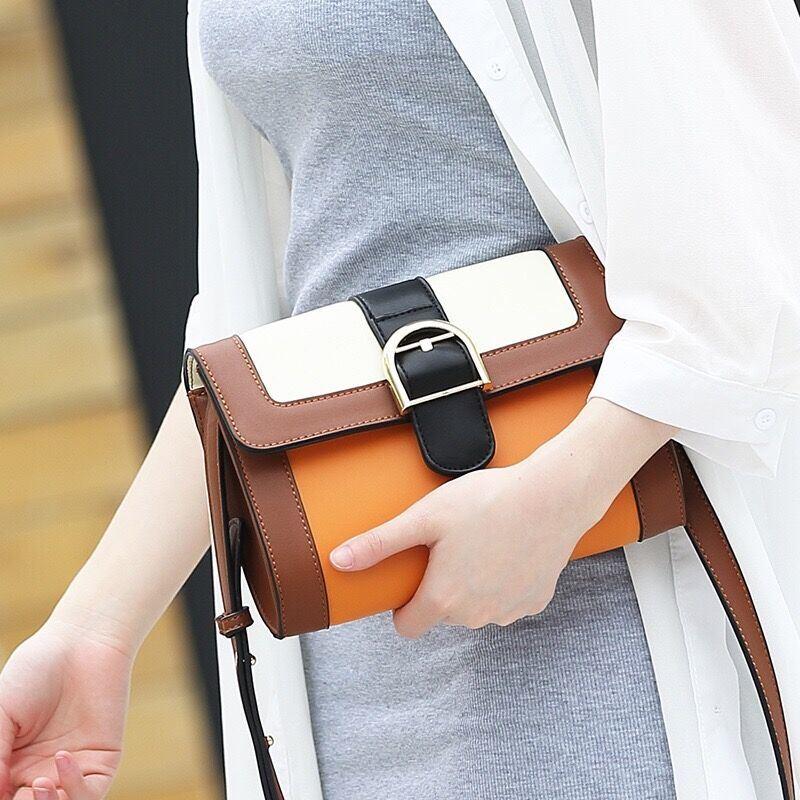 Desinger Contrast Women Sling Messenger Clutch PU Lady Hand Bag