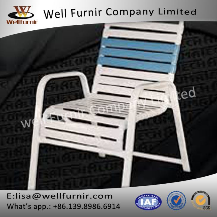 Well Furnir WF-17033 Vinyl Straps Pool Arm Chair