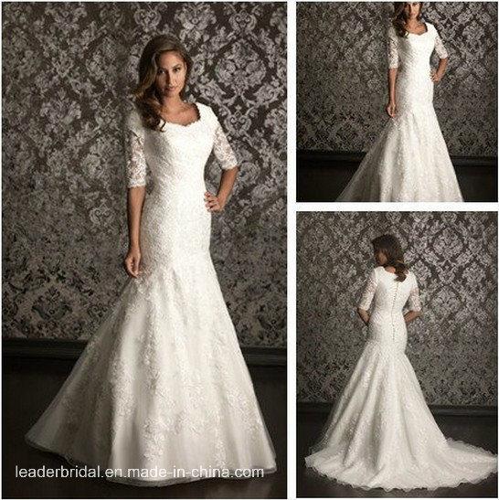 china aline 34 sleeves court train lace wedding dresses