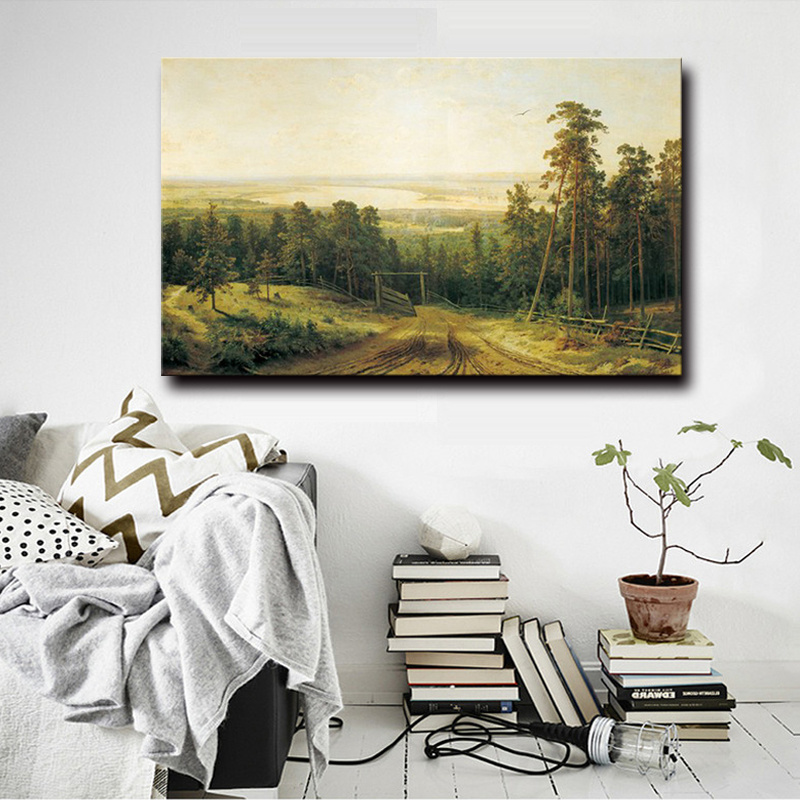 100%Handmade Oil Painting on Canvas, Morning in a Pine Forest