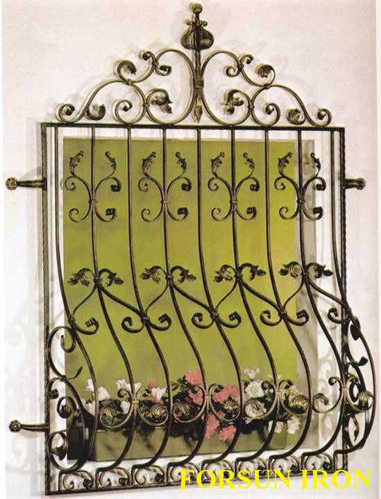 China fixed simple iron window grill design china grill for Window design of iron