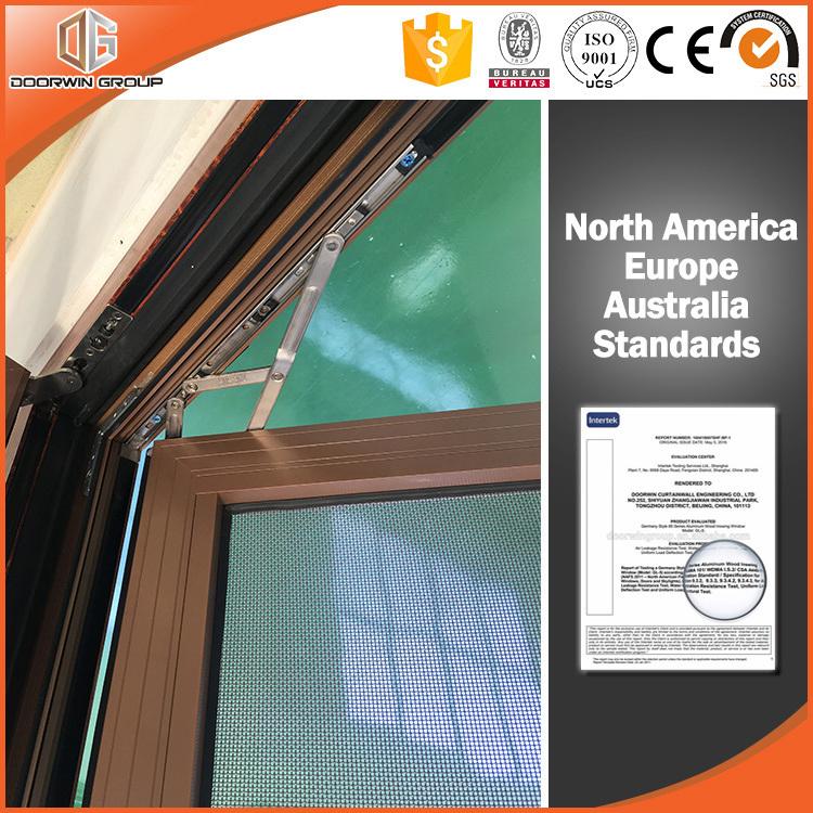Thermal Break Aluminum Tilt & Turn Window 3D Red Oak Wood Grain Finishing Wood Color, Tilt & Turn Window with Operator