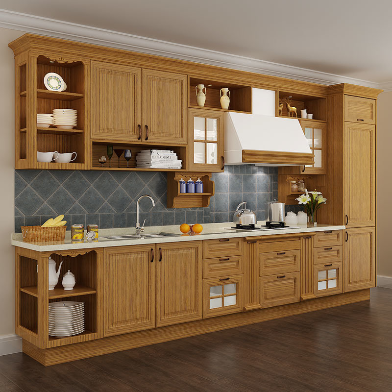 China Oppein Line Shape Solid Wood Kitchen Cabinets Op15