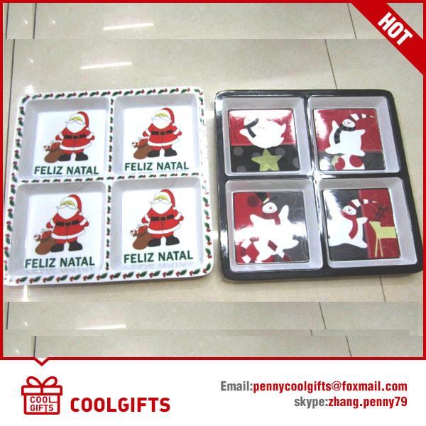8 Inch Round Christmas 100% Melamine Dish, Food Grade Plate