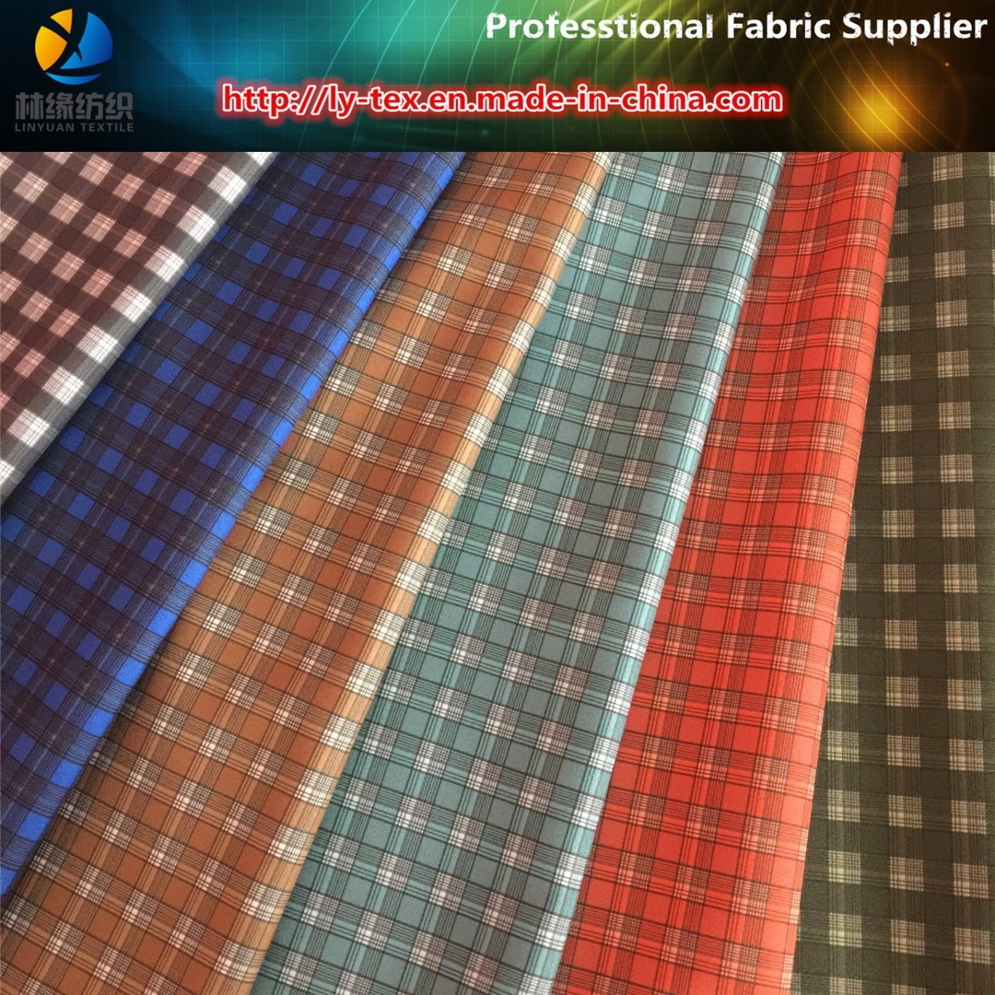 Polyester Gabardine Check Printed Textile Fabric for Workwear Shirts