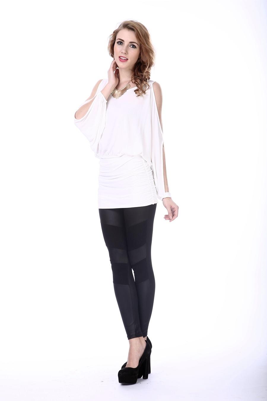 Women′s White New Blouse Neck Design Korea Design Blouse