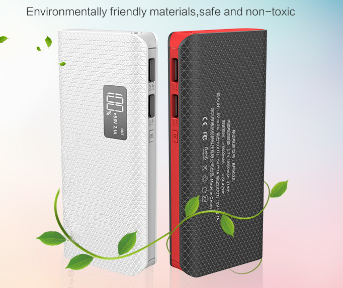 10000mAh Portable Power Bank with LED Light