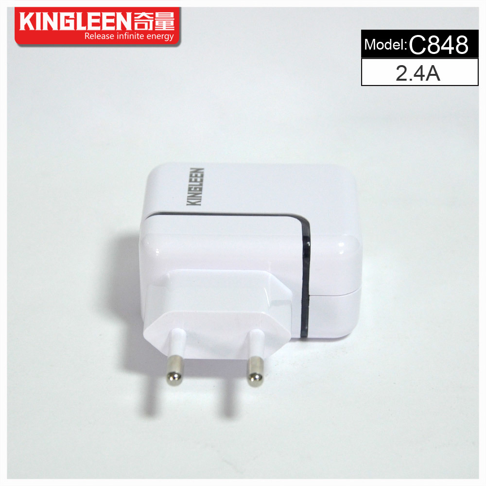 Kingleen′model C848 Dual USB Intelligent Battery Charger 2.4A/5V, Original Factory Production Export to Europe