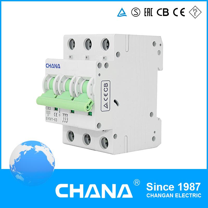 6ka/10ka Mini Circuit Breaker with CB Ce and TUV Approval (EKM1-63)