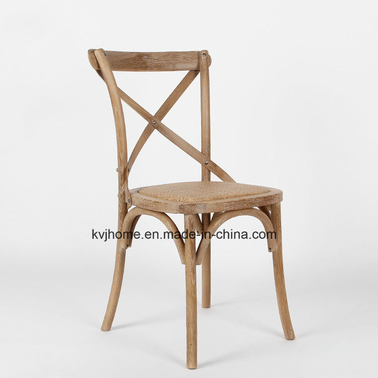 Factory Price Antique X Cross Back Oak Wood Dining Chair (RCH-4001)