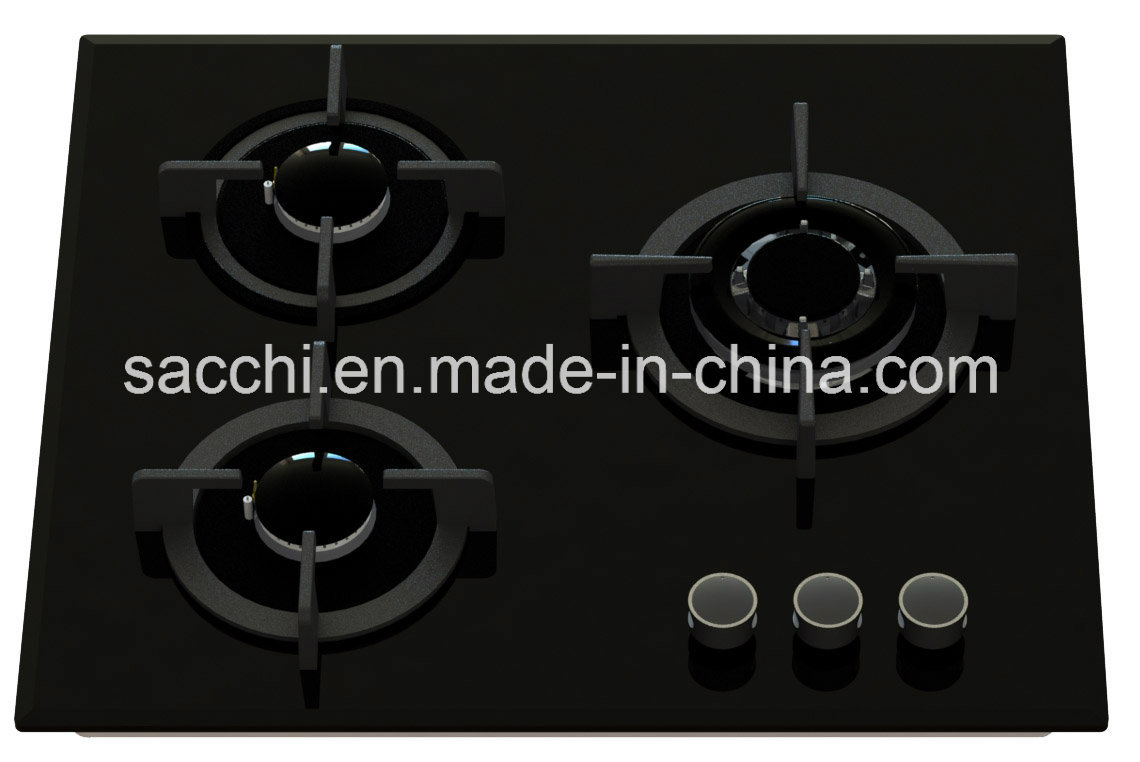 3 Burner Tempered Glass Gas Hob