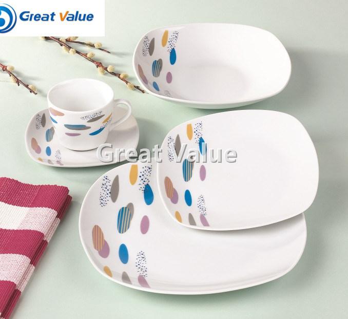 20PCS Square High Quality Porcelain Dinnerware