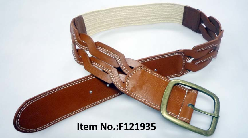 Fashion Accessories Brown Woven PU Woman′s Belt (F121935)