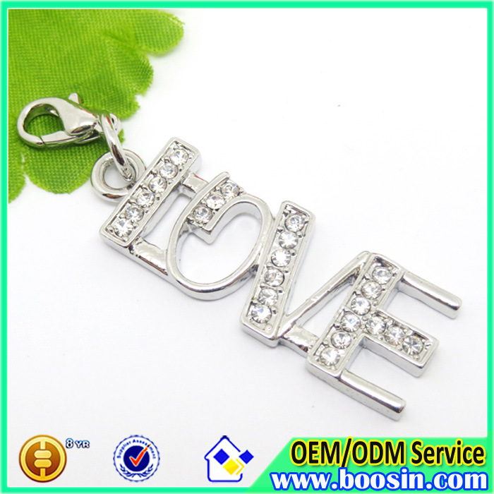 Fashion Alloy Custom Metal Crystal Love Charm Jewelry