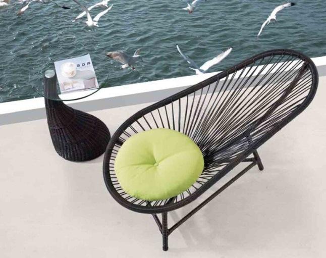 Sandy Beach Rooftop Balcony Rattan Lying Bed. Pool Lounge Chair