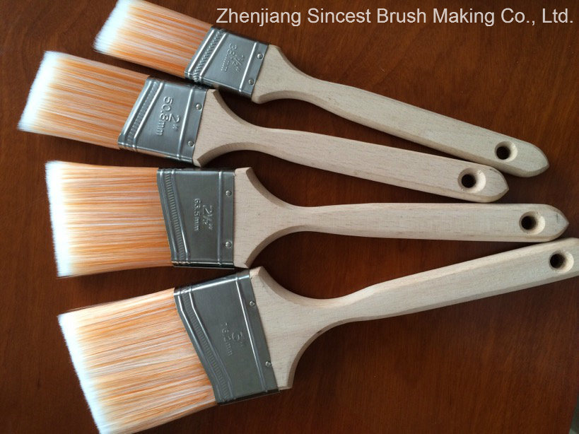 Slash Tapered Solid Filament Paint Brush with Long Wooden Handle