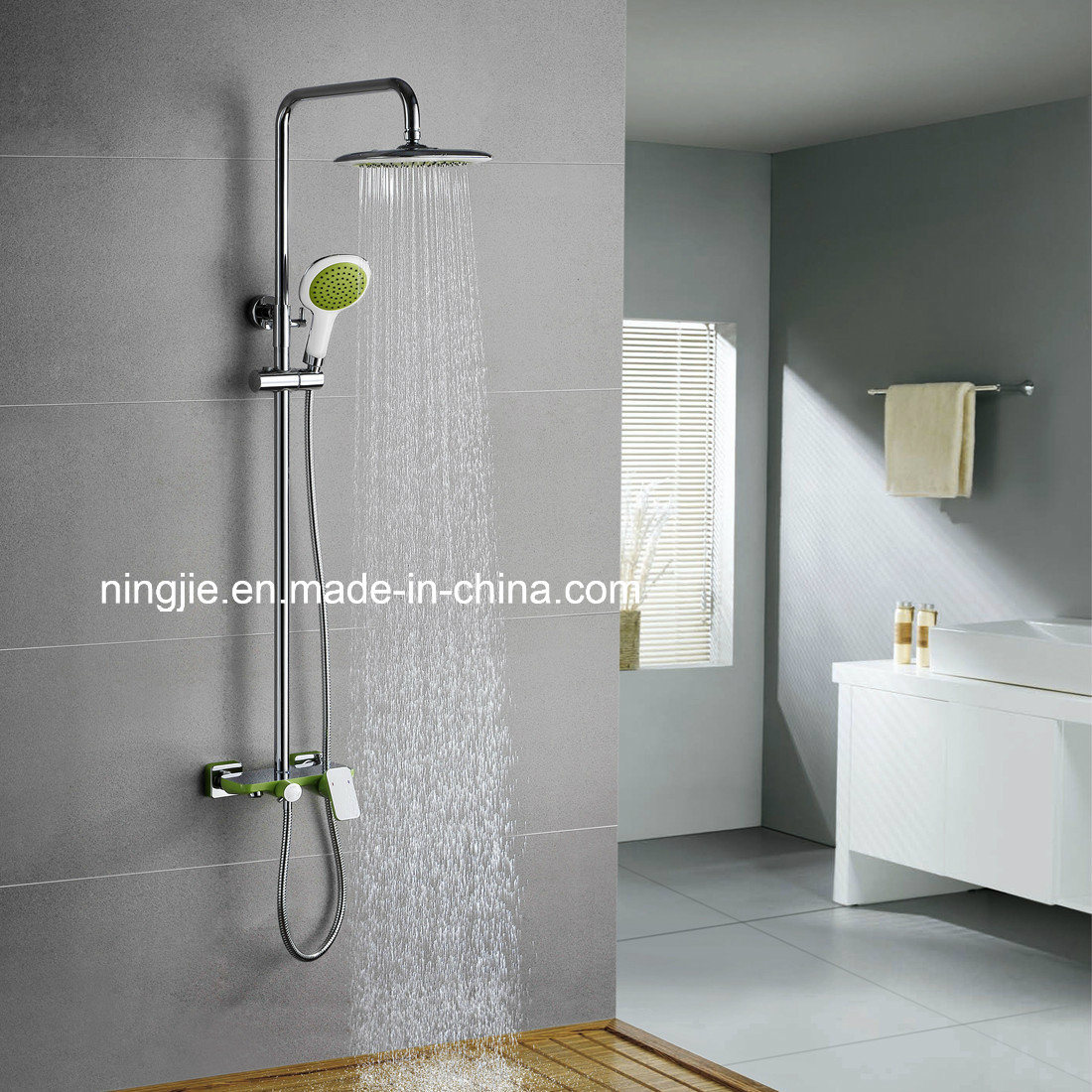 Elegant China Family Bathroom Wall Mounted Raining Shower Mixed (13066YC)   China  Shower Mixer, Bathroom Shower Set