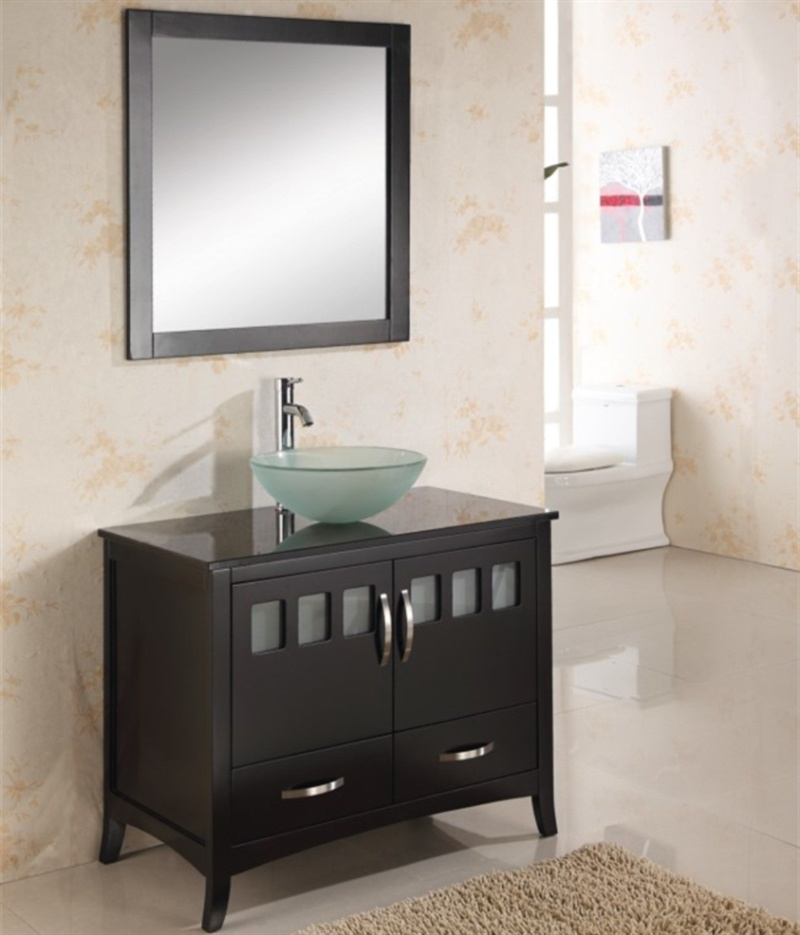 Hotel Floor Mounted Double Sink Solid Wood Bathroom Furniture