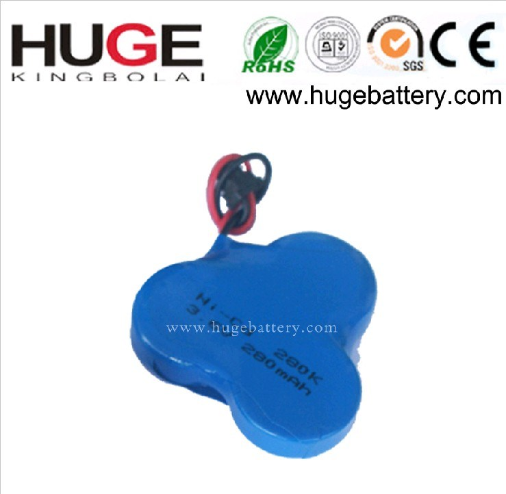 3.6V 250mAh Ni-MH Button Cell Rechargeable Battery