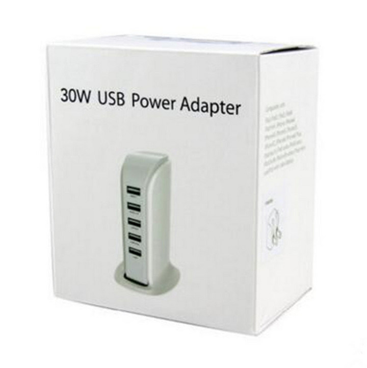 5 USB Ports Universal Cell Phone Charger 5V 6A for iPhone and Android Tablet