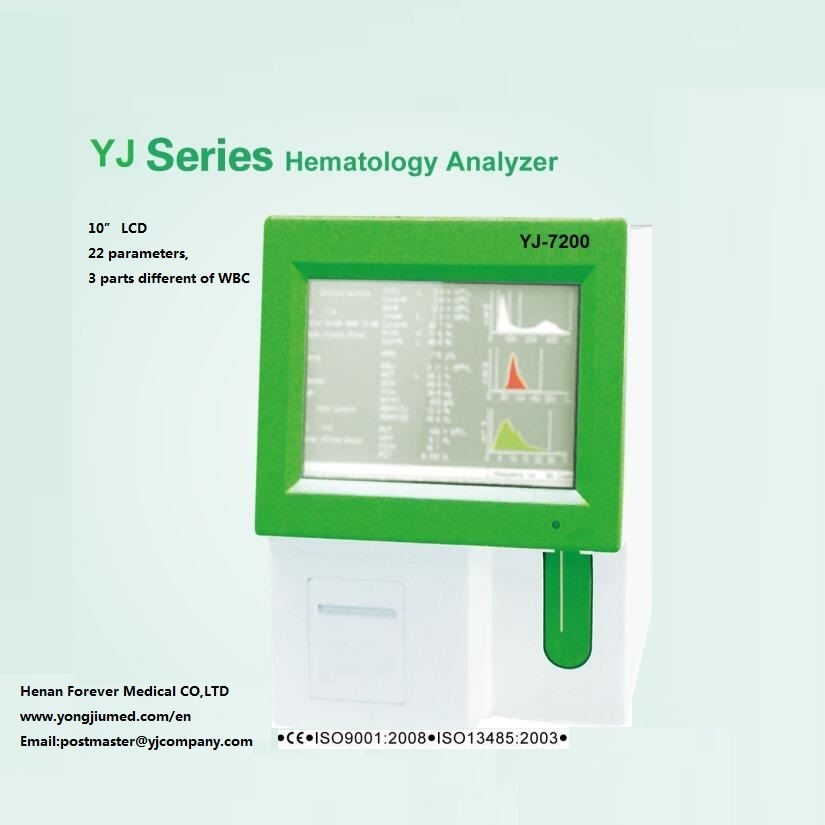 "10"" LCD Screen 3-Part Auto Cell Blood Counter Hematology Analyzer Yj-7100/Yj-7200"