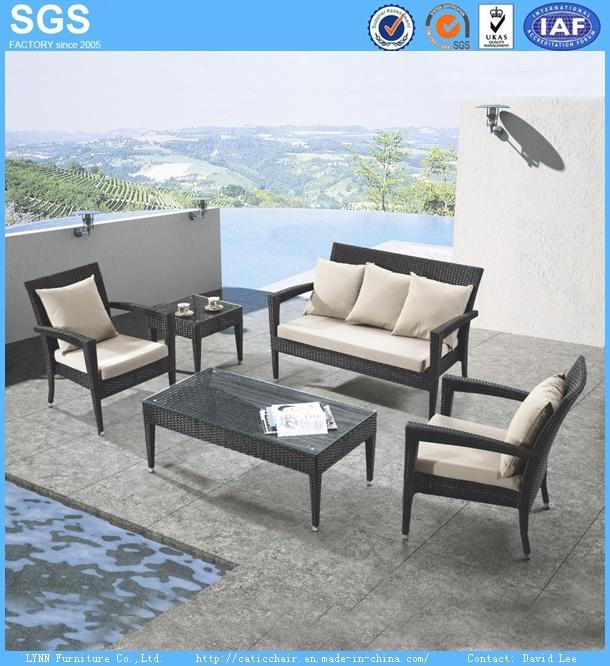 Outdoor Leisure Furniture Black Poly Rattan Sofa Set Armchair