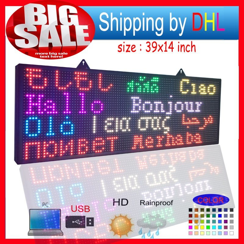 """Open Close LED Sign 39""""X14"""" Programmable Scrolling Full Color Message Board"""
