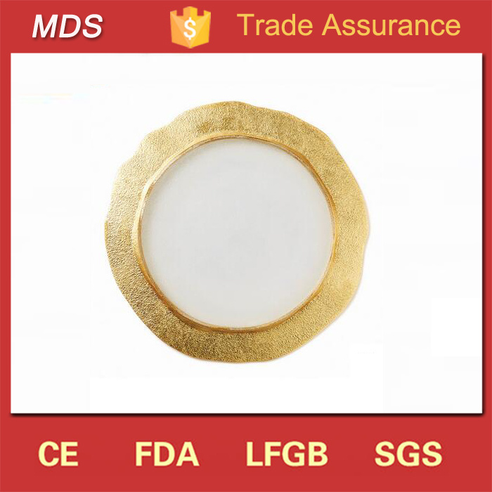 Elegant Organic Glass Gold Charger Plates for Wedding Decoration