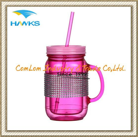 16oz Plastic Mason Jar with Straw