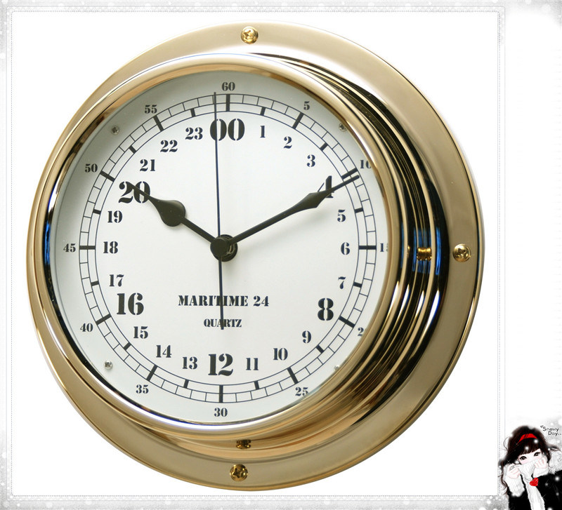 24 Hour Brass Case Military Time Clock Dial 180mm