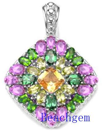 Jewellery-Color Glass Sterling Silver Pendant (P908901)