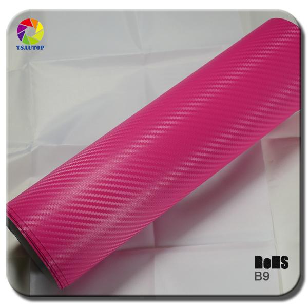Tsautop Pink 3D Carbon Fiber Vinyl for Car Wrapping