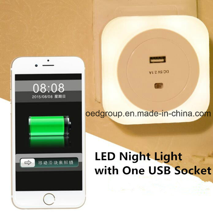 Square LED Night Light with One USB Socket
