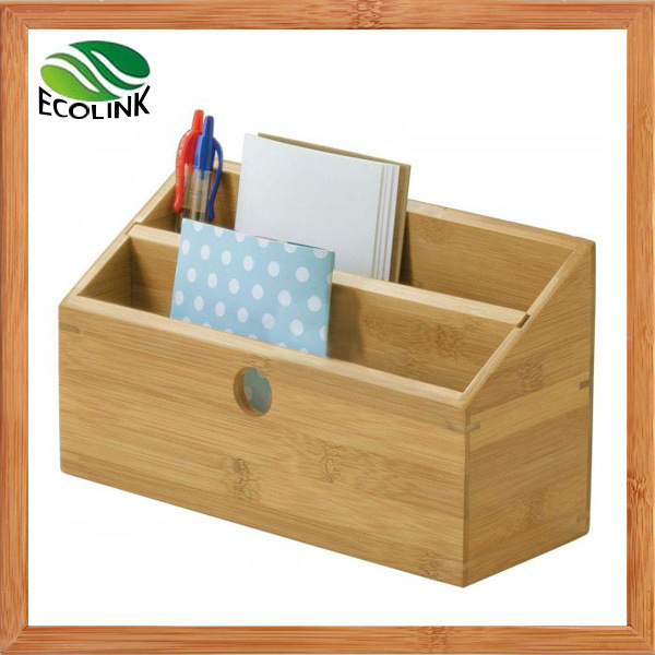 Bamboo Desk Organizer Storage Box Office Stationery