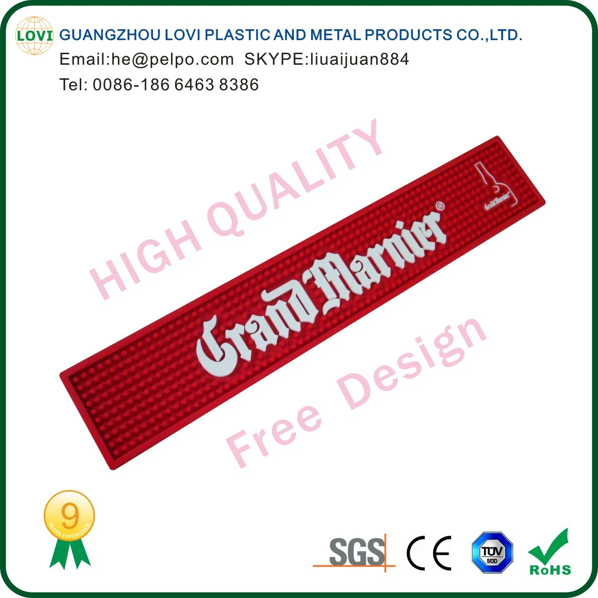 Free Design High Quality Promotion Bar Mat
