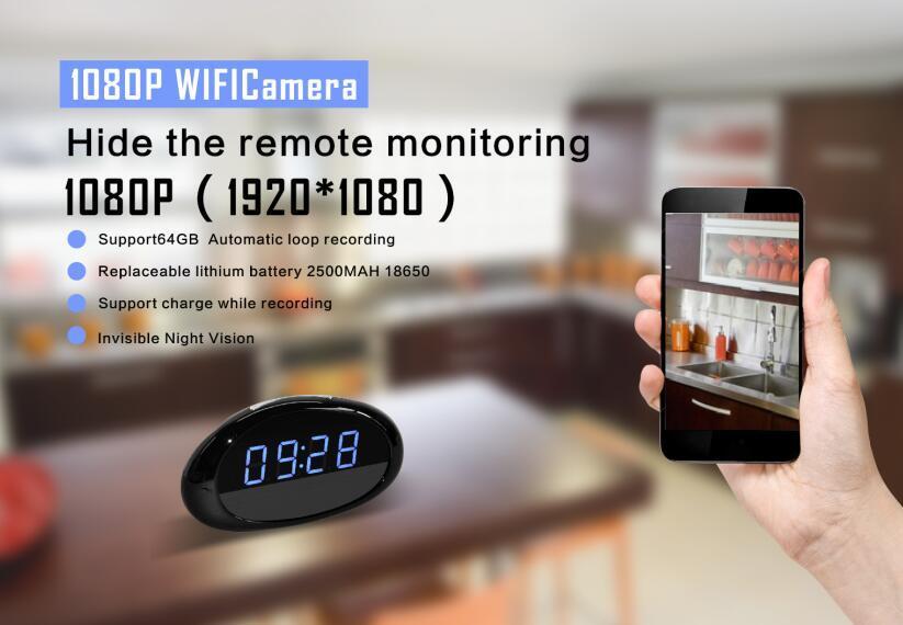 Cobblestone - Real HD 1080o WiFi Clock Cameras Video Record
