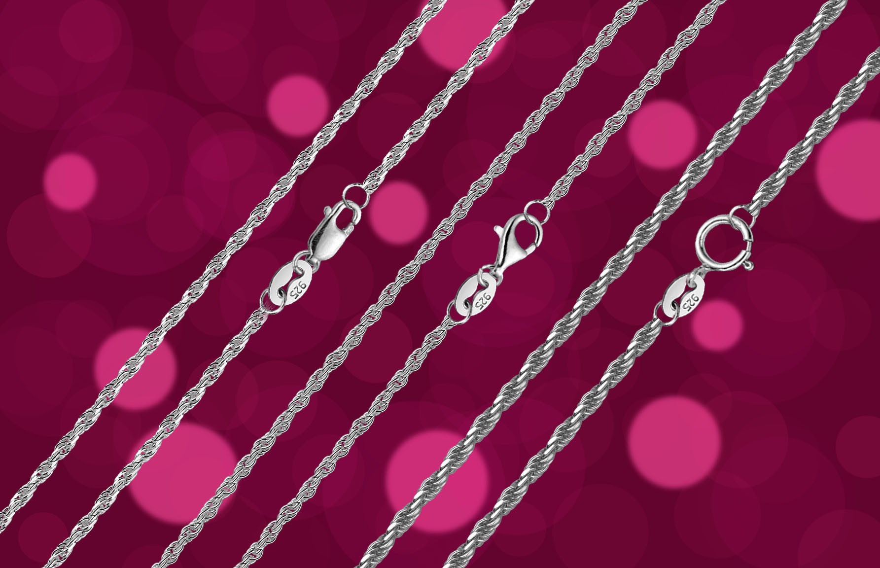 Jewellery Necklace 925 Silver Chain, Semi-Finished No Cutting Packed in Roll (B-025)