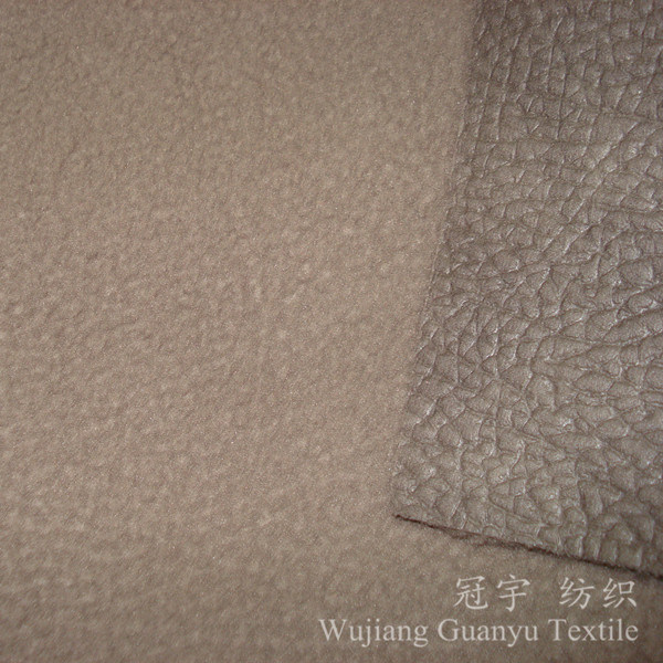 Embossed Leather Polyester Suede Fabric with Polar Fleece Backing