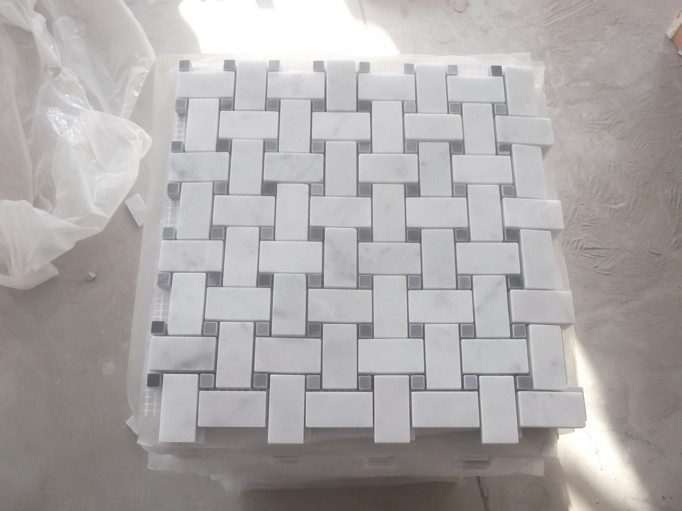 Hexagon/Basketweave/Herringbone/French Pattern Floor/Wall White Marble Tile Mosaics