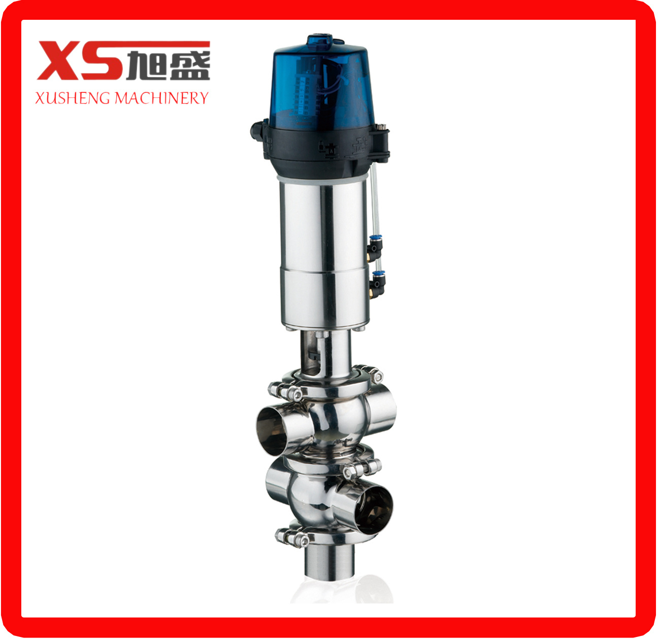 Sanitary Hygienic Stainless Steel Ss304 Ss316L Pneumatic Diverter Flow Valve