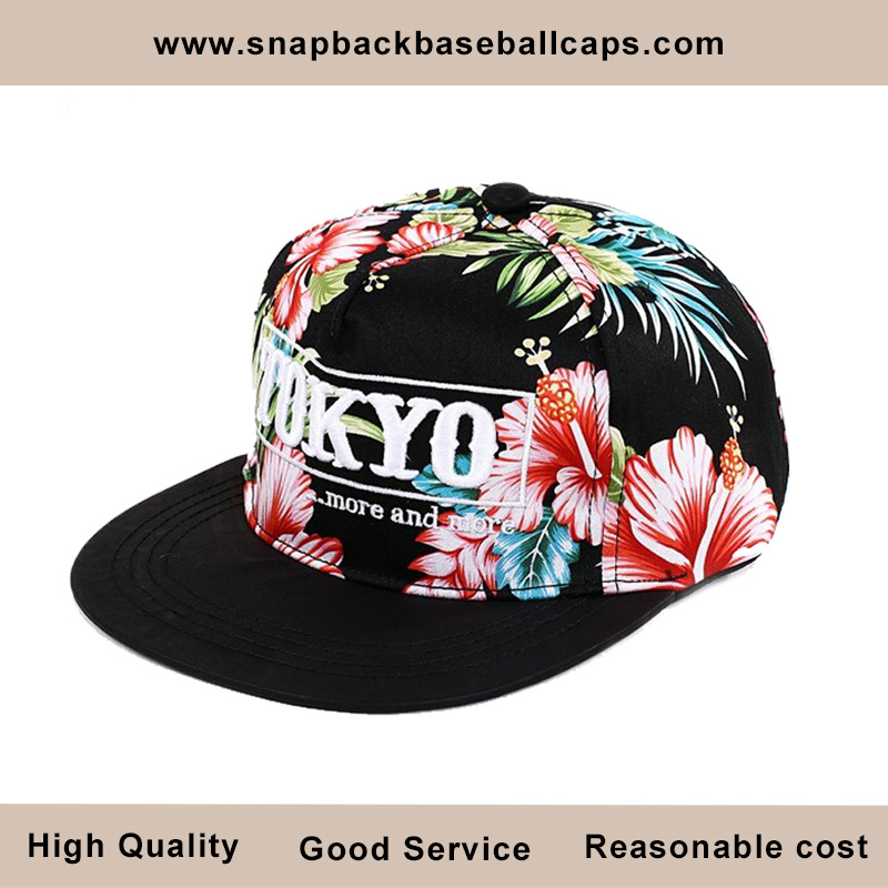 Allover Red Flower Printing Snapback Cap with 3D Embroidery (01008)