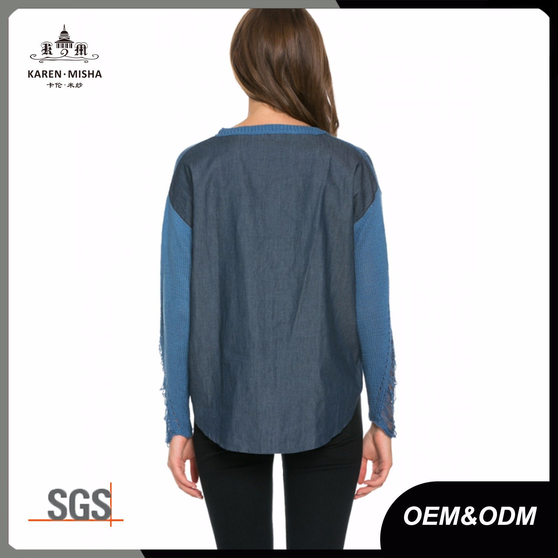 Ladies Distressed Denim Fashion Garment