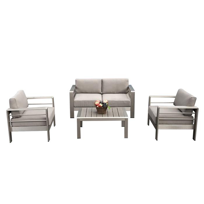 Hotel Indoor and Outdoor Garden Patio Furniture Brushed Wiredrawing Aluminum Cloth Art Sofa Set