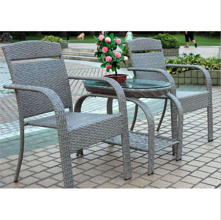 Hot Sales Factory Rattan /Wicker Table Chair Set / Outdoor Leisure Furniture Coffee Shop Table Chair Set (Z312)