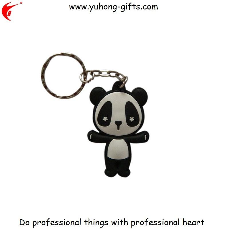 Custom Panda Logo Advertising PVC Keychain for Promotion (YH-KC173)