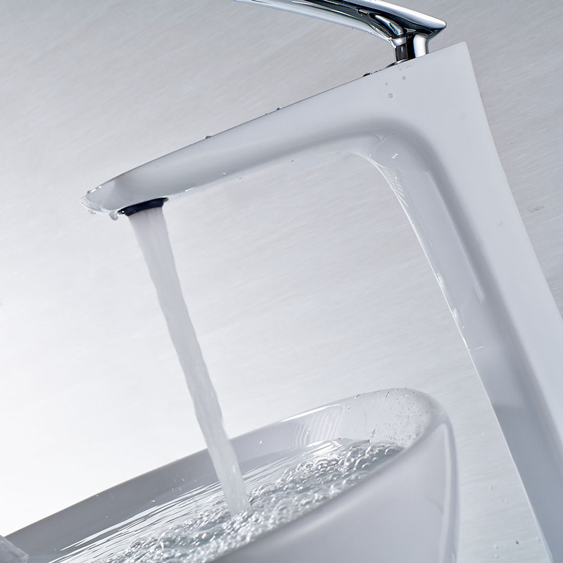 White Paint Chrome Bathroom Water Basin Tap