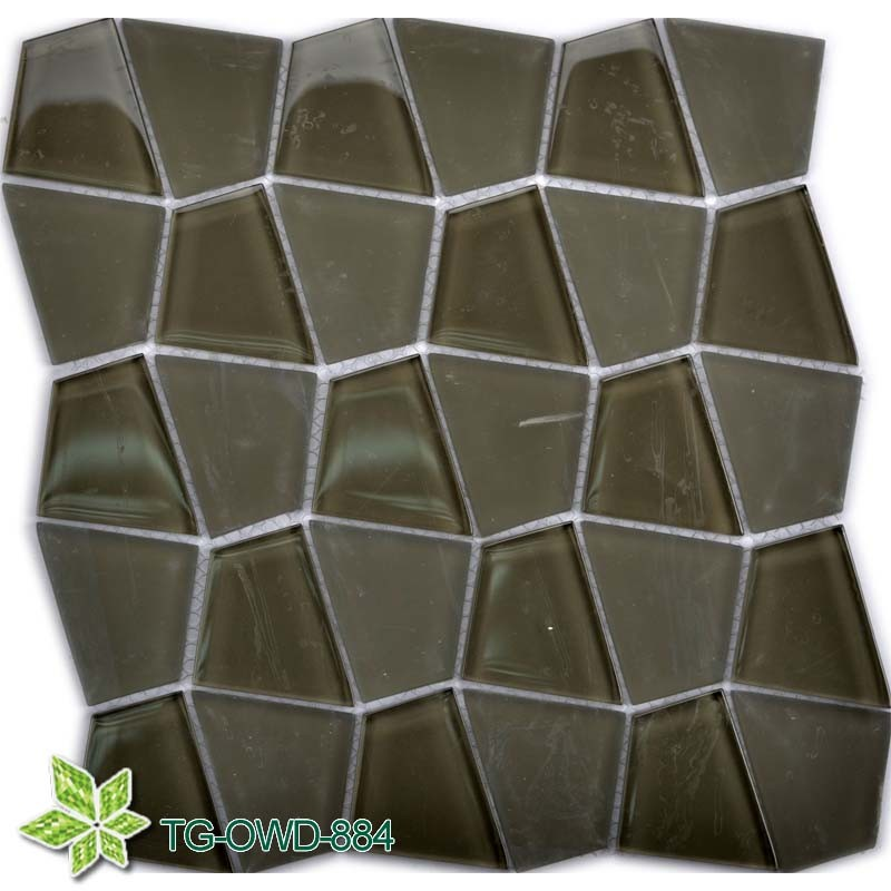 New Design Green Quadrilatera Glass Mosaic Wall Tiles Mosaic/Mosaico in Foshan (TG-OWD-884)