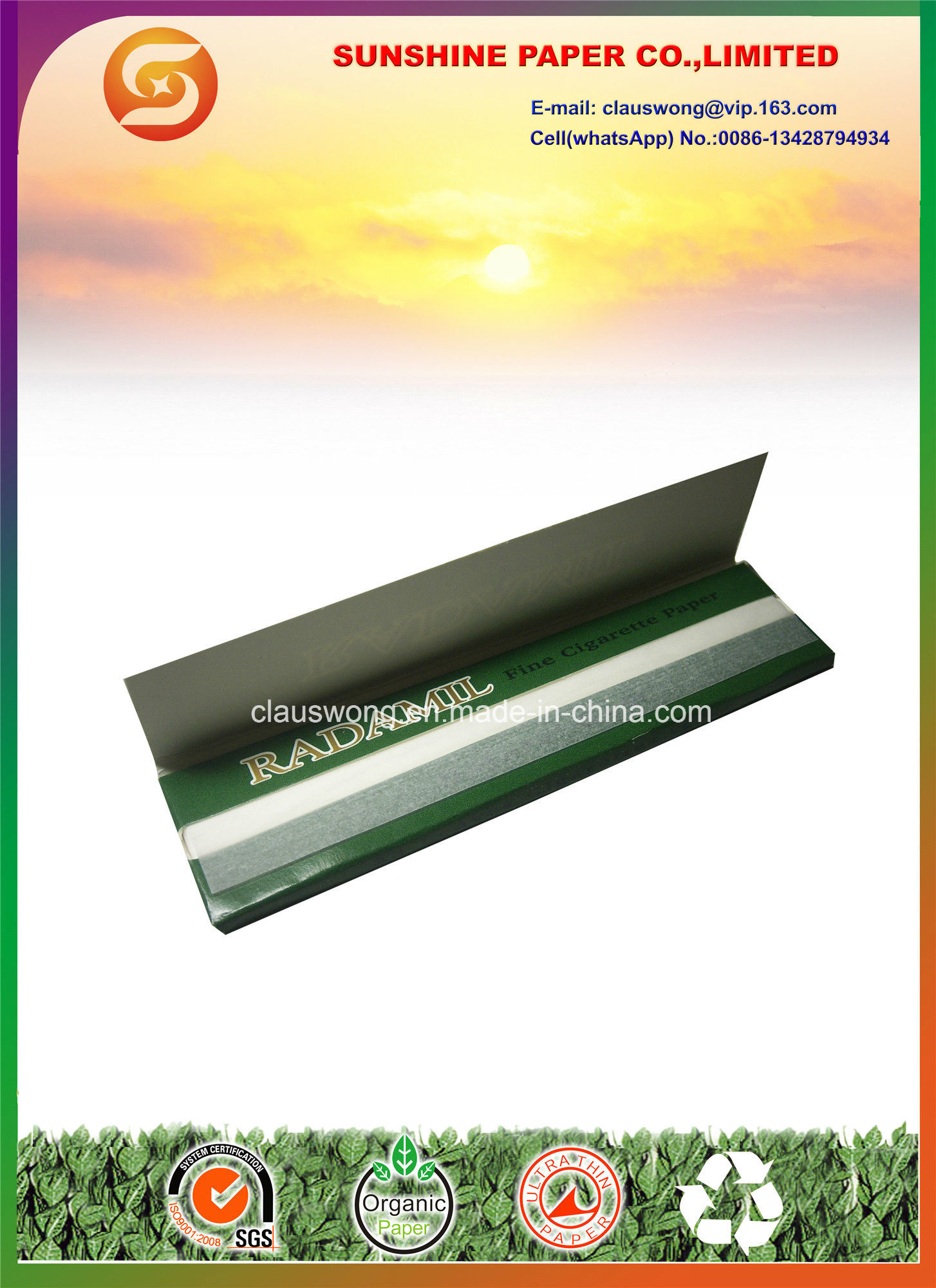 King Slim Size Rolling Paper with 14GSM Rice Paper