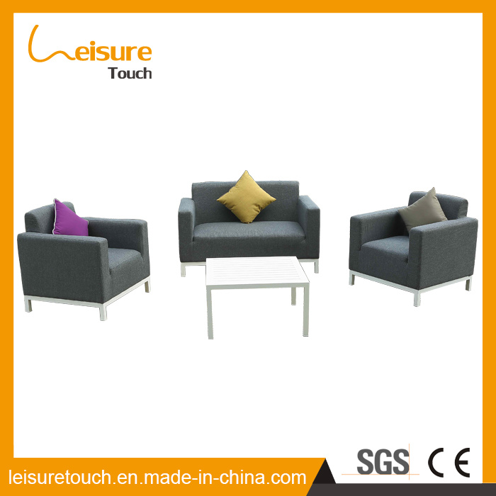 China Made Metal Outdoor Garden Patio Furniture Brushed Poly Wood Wiredrawing Aluminum Cloth Art Sofa Set