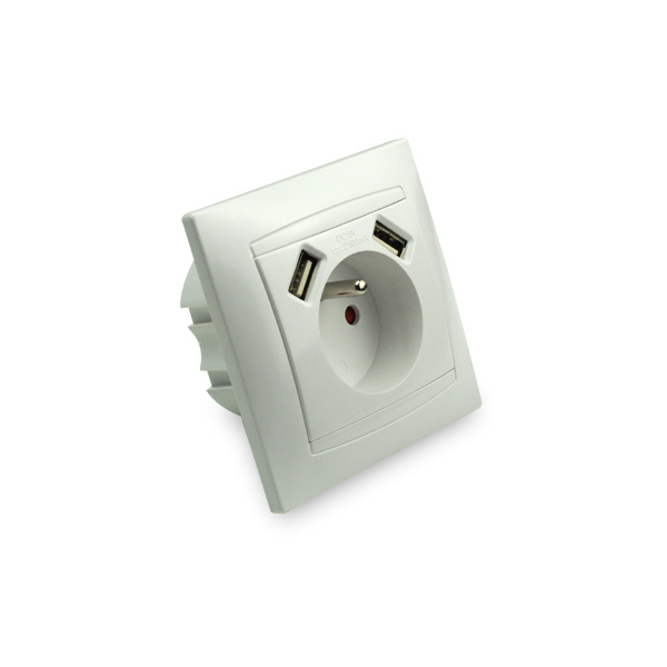 French Wall Socket with 2-Port USB Charger for Mobile Phone